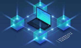 blockchain de conceito de design plano e tecnologia de criptomoeda. composição para banner de site de design de layout. ilustração vetorial isométrica. vetor