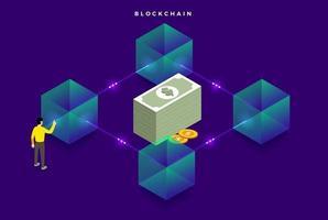 tecnologia blockchain, dinheiro digital seguro vetor