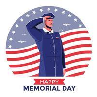 Soldado saudando o conceito do feliz dia do memorial vetor