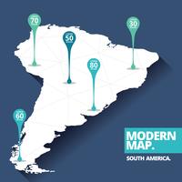 Mapa moderno da América do Sul vetor