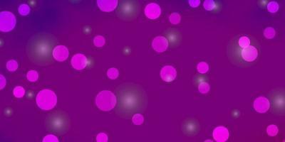 pano de fundo vector rosa claro roxo com círculos, estrelas