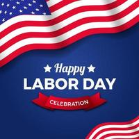 modelo de banner de pôster do dia do trabalho com a bandeira americana dos EUA em fundo azul, modelo de banner de pôster vetor