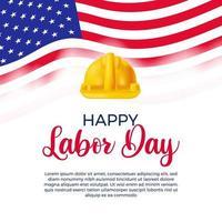feliz dia do trabalho com capacete de segurança e bandeira dos EUA, modelo de celebração do dia do trabalhador em fundo branco vetor