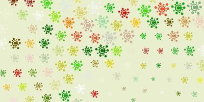 modelo de vetor verde e vermelho claro com sinais de gripe.