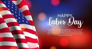 banner cartaz do dia do trabalho americano com bandeira e desfocar o fundo do bokeh. vetor