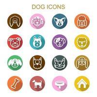 ícones de sombra longa de cachorro vetor