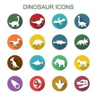 ícones de sombra longa de dinossauro vetor