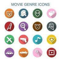 ícones de longa sombra de gênero de filme