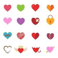 ícones coloridos de coração dos namorados vetor