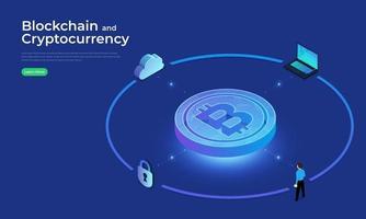 conceito de blockchain e criptomoeda vetor