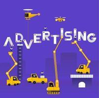 equipe de construção construindo a palavra publicidade vetor