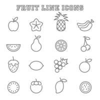 ícones de linha de frutas vetor