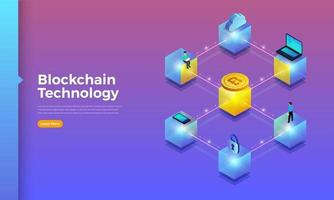 tecnologia de blockchain e criptomoeda vetor