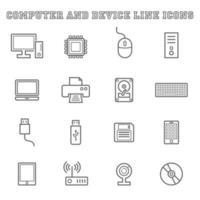 ícones de linha de computador e dispositivo vetor