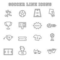 ícones de linha de futebol vetor