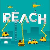 equipe de construção construindo a palavra alcance vetor