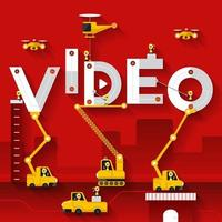equipe de construção construindo a palavra vídeo vetor