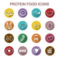 ícones de sombra longa de comida de proteína