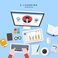 educação on-line de e-learning vetor