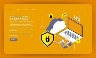 maquete da página de destino do site para proteção de dados na nuvem vetor