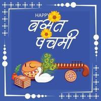 ilustração em vetor de um plano de fundo para a deusa saraswati para vasant panchami puja.