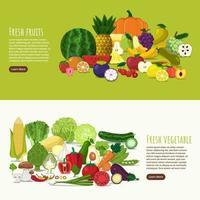 bandeira de frutas e vegetais saudáveis vetor