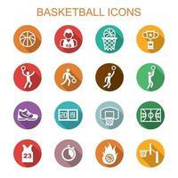ícones de sombra longa de basquete