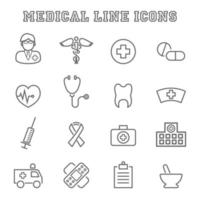 ícones de linha médica vetor