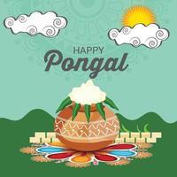 ilustração em vetor de um fundo para o feliz festival da colheita do feriado pongal de tamil nadu, sul da Índia.