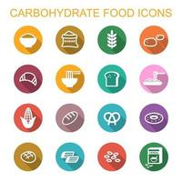 ícones de sombra longa de alimentos carboidratos vetor