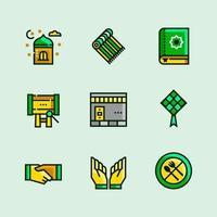 objetos de ícones minimalistas do ramadã vetor