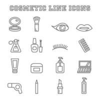 ícones de linha de cosméticos vetor