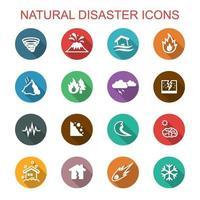 ícones de sombra longa de desastres naturais vetor