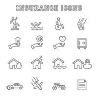 ícones de linha de seguro