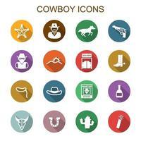 ícones de sombra longa de cowboy vetor