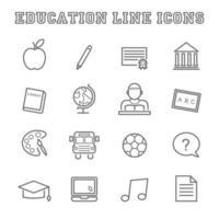 ícones de linha de educação