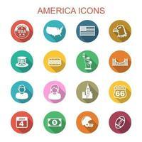 America Long Shadow Icons vetor
