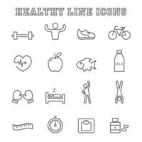 ícones de linha saudáveis vetor