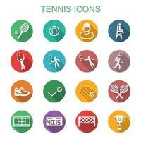 ícones de sombra longa de tênis vetor