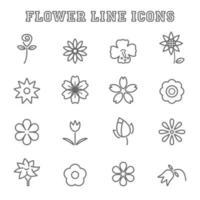ícones de linha de flores