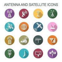 ícones de sombra longa de antena e satélite vetor