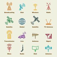 antena e elementos de satélite vetor