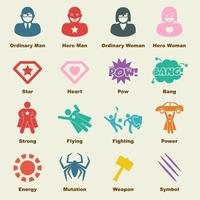 elementos do vetor de super-heróis
