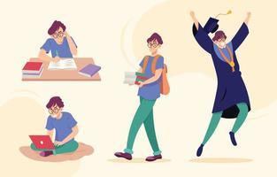 coleção de personagens estudantis vetor