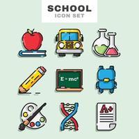 conjunto de ícones da escola vetor