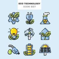 conjunto de ícones de tecnologia ecológica vetor