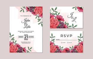 coleção de cartão de convite de casamento floral lindo vetor