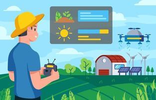 tecnologia verde para o conceito de agricultura vetor