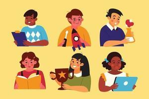coleção multicultural de personagens infantis vetor