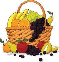 pacote de frutas frescas em uma cesta de madeira desenho de ilustração vetor